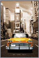 New York taxi no. 1 Kehystetty laminoitu juliste