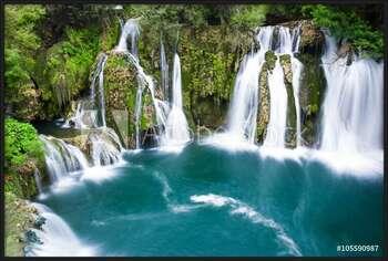 Waterfalls of Martin Brod on Una national park, Bosnia and Herzegovina Kehystetty laminoitu juliste