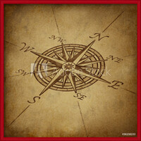 Compass rose in perspective with grunge texture Kehystetty laminoitu juliste