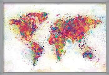 Kehystetty juliste World Map - Colour Splash