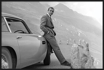 Kehystetty juliste James Bond - Connery & Aston Martin