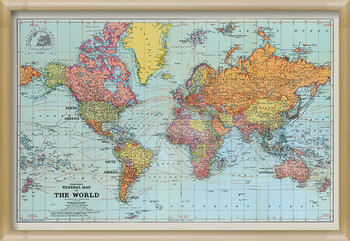Kehystetty juliste Stanfords General Map Of The World - Colour