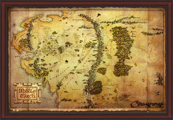 Kehystetty juliste The Hobbit - Middle Earth Map
