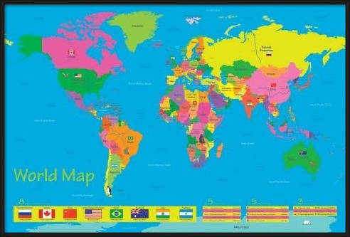 Juliste  World map - population of children