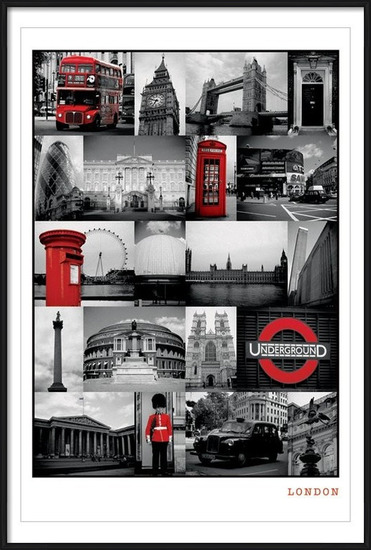 Juliste  Lontoo - red collage