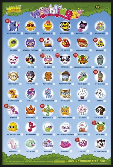 Juliste  Moshi monsters - moshlings