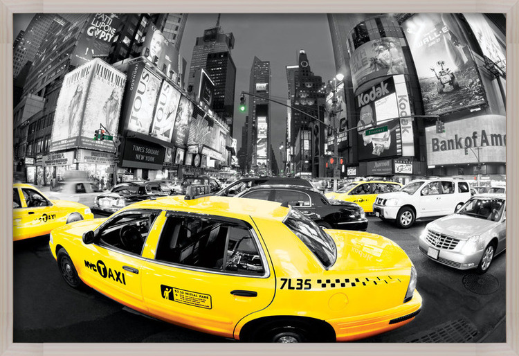 Juliste  Rush hour Times square - Yellow cabs